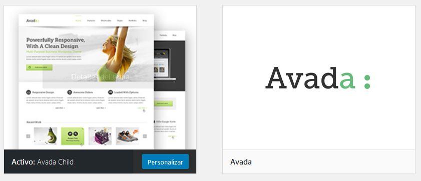 Avada Child Theme instalado