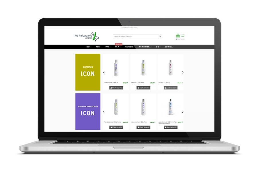 Diseño web para la tienda online de Mi Peluqueria en Casa