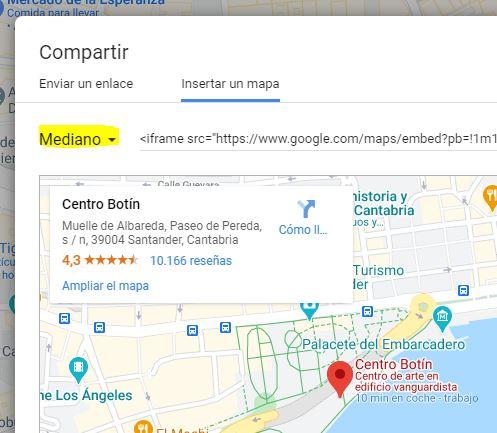 Seleccionar tamaño mapa de Google
