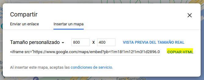 Tamaño de mapa de Google personalizado