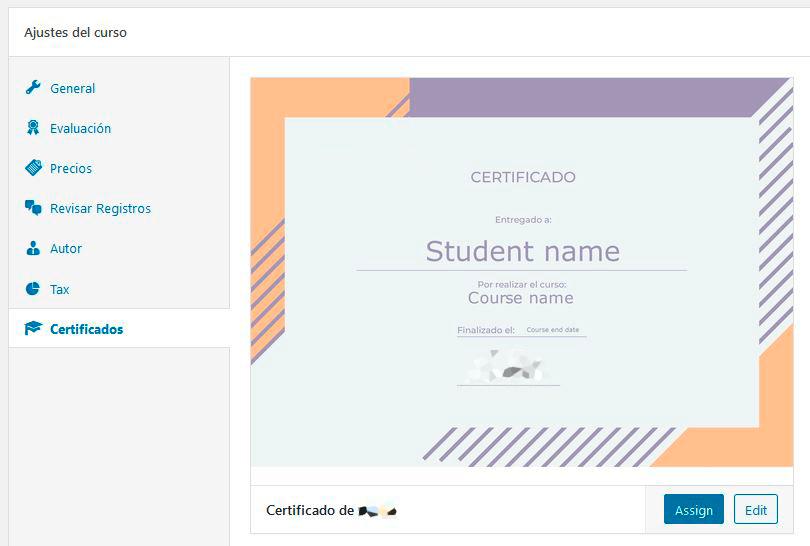 Certificado asignado a un curso