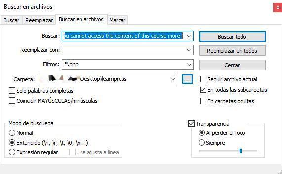 Cómo buscar en archivos con Notepad++