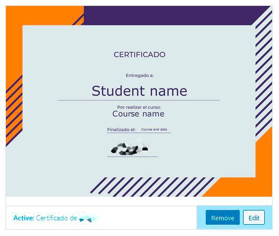 Asignar certificado en un curso