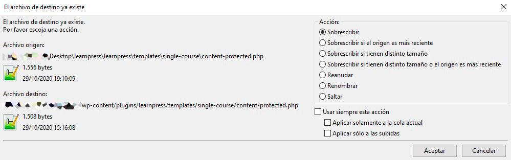 Subida de fichero por FTP