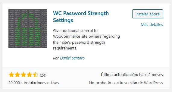 Plugin WC Password Strength Settings