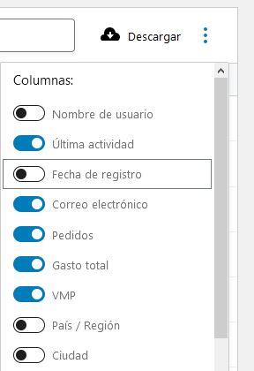 Opciones columnas lista clientes