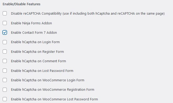 Formularios disponibles para hCaptcha