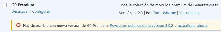Actualización de GP Premium disponible