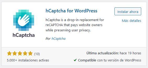 hcaptcha para WordPress