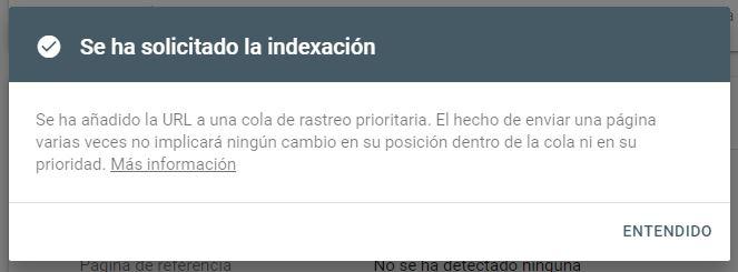 Envío de indexación solicitada