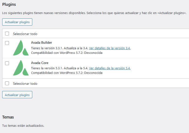Actualizar plugins de Avada tras su actualización