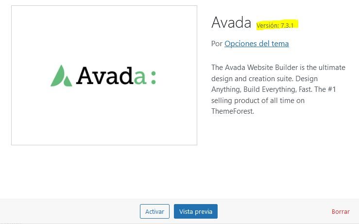 Versión de Avada a eliminar tras actualizar