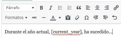 Ejemplo de uso de shorcode de año actual