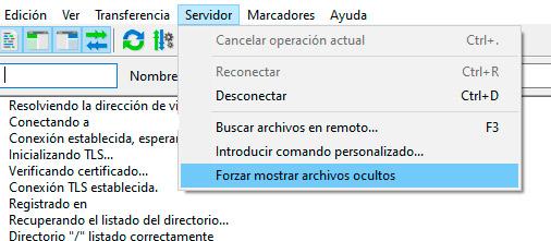 Mostrar archivos ocultos en FileZilla