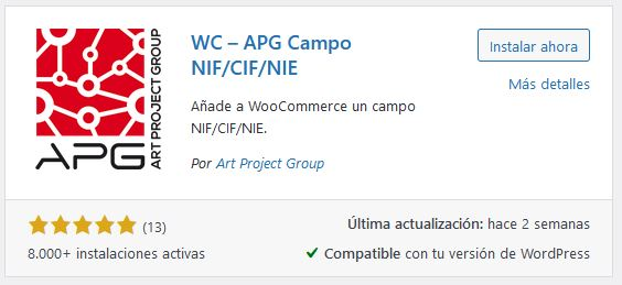 Plugin DNI y CIF para WooCommerce
