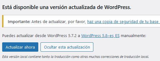 Actualiza WordPress para solventar posibles errores