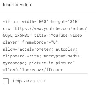 iframe del video a insertar