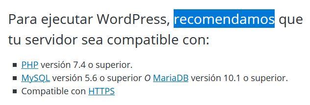 Versión de PHP recomendada