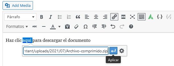 Insertar enlace copiado