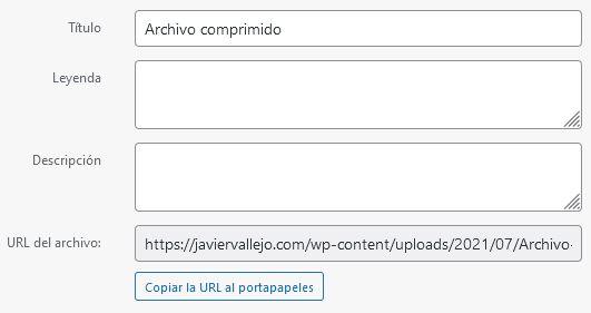 Opciones del archivo subido